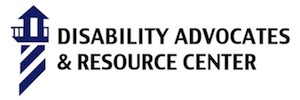 on the left is a blue silhouette of a light house, diagonal stripes on the building, catwalk and light on top. To the right two lines of text in black. Disability Advocates, second line, & Resource Center